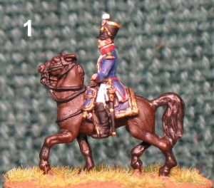 15mm, Napoleonic Mounted Infantry Officer With Pom Pom AB Figure